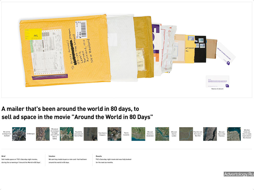 "Медиа-проект ""Around The World In 80 Days"", бренд: TVNZ TV2, агентство: Saatchi & Saatchi Parnell"