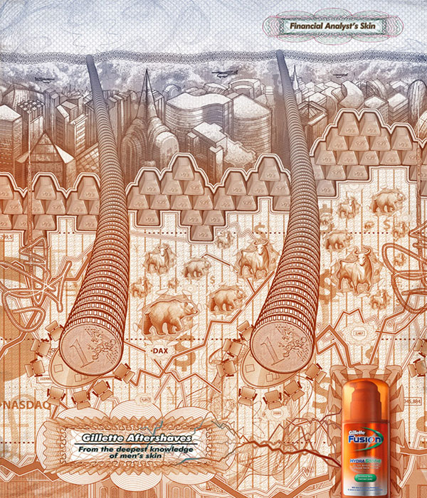 "Печатная реклама ""Кожа Финансиста"", рекламодатель: Gillette, агентство: BBDO Russia Group"