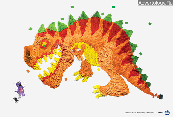 """Печатная реклама """"Dino"""", бренд: HP, агентство: BBDO Guerrero"""