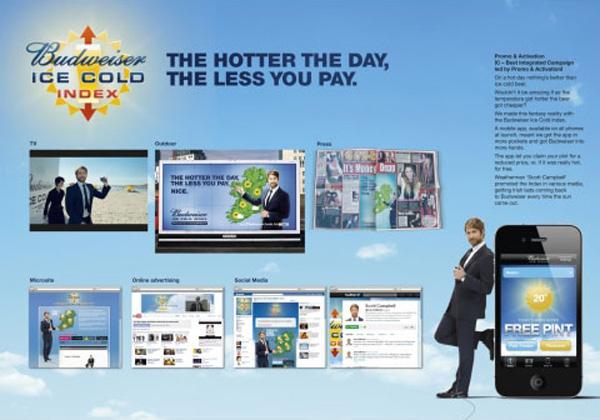 "Нестандартная реклама ""Bud ice cold index"", бренд: Budweiser, агентство: DDB UK"