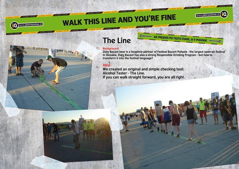 "Нестандартная реклама ""The Line"", бренд: Zlaty Bazant, агентство: Istropolitana Ogilvy"