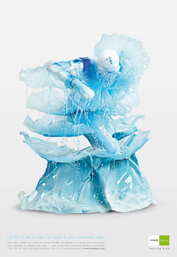 """Печатная реклама """"Trickle of Water"""", бренд: Phonak, агентство: Wunderman"""