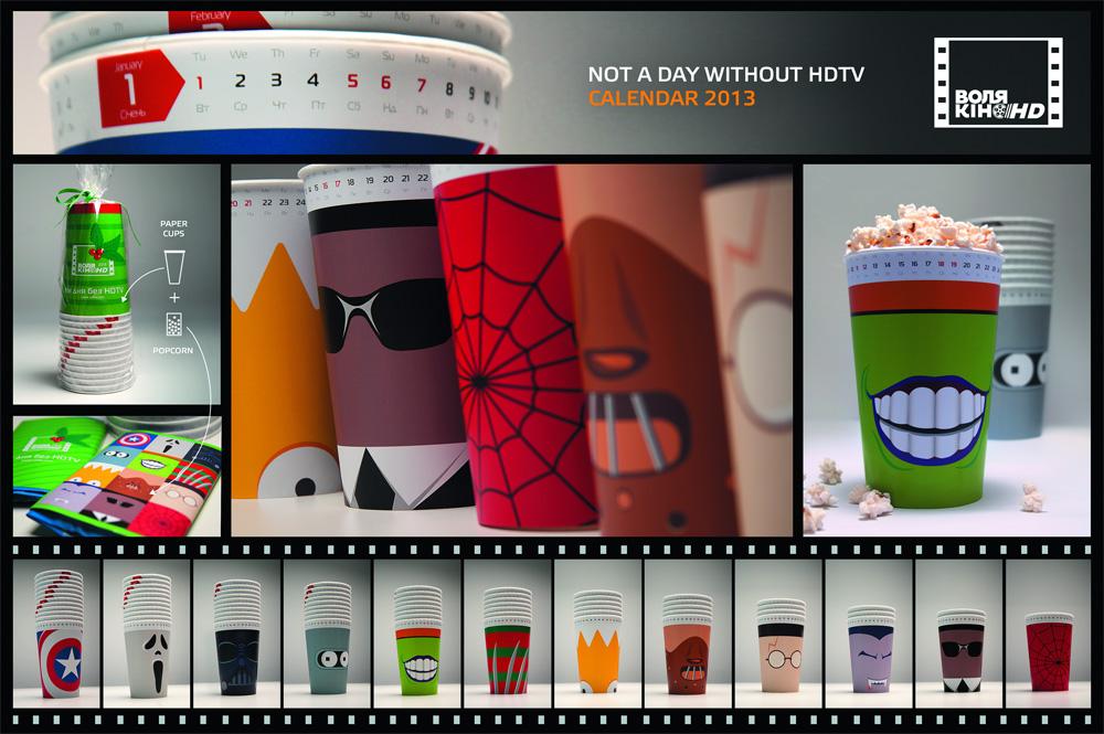 """Фирменный стиль """"Ни дня без HDTV"""", бренд: Воля, агентство: Scholz & Friends"""