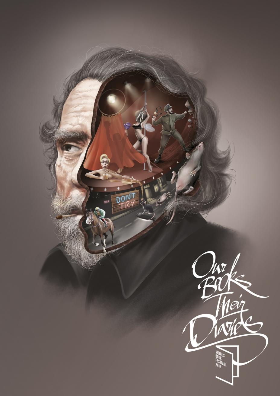 "Печатная реклама ""Bukowski"", бренд: Vilnius Book Festival 2013, агентство: Not Perfect Y&R I Vilnius"