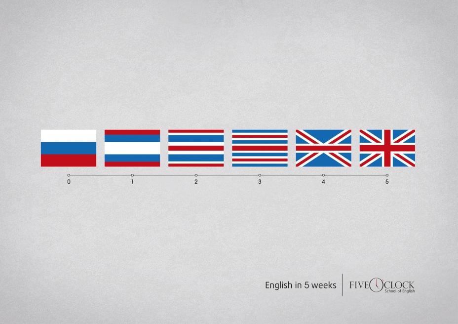 """Печатная реклама """"Флаги"""", рекламодатель: Школа английского языка Five O`clock, агентство: Vozduh"""