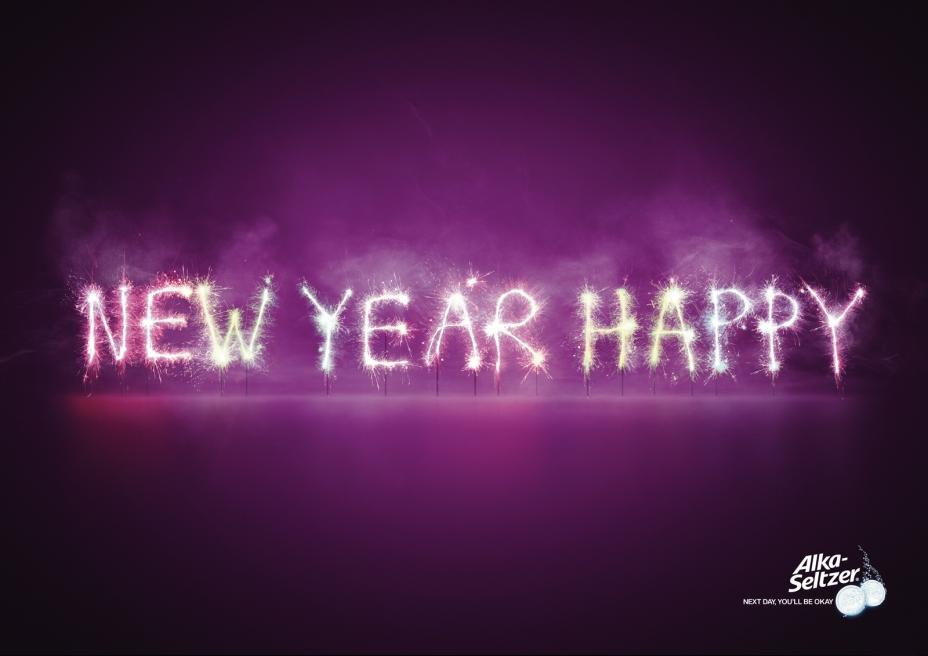 "Печатная реклама ""New Year"", бренд: Alka Seltzer, агентство: BBDO Russia Group"