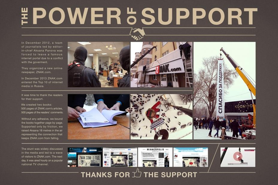 "Наружная реклама ""The power of support"", бренд: Znak.com, агентство: Восход"
