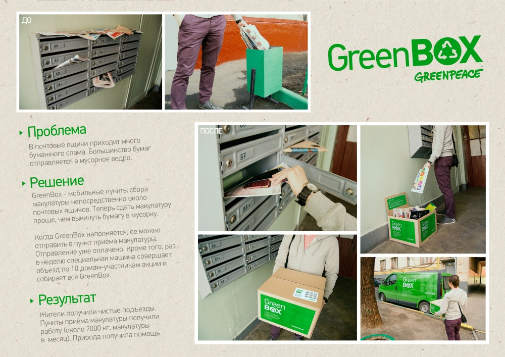 "Нестандартная реклама ""GreenBox"", бренд: Greenpeace, агентство: Sol Creative"