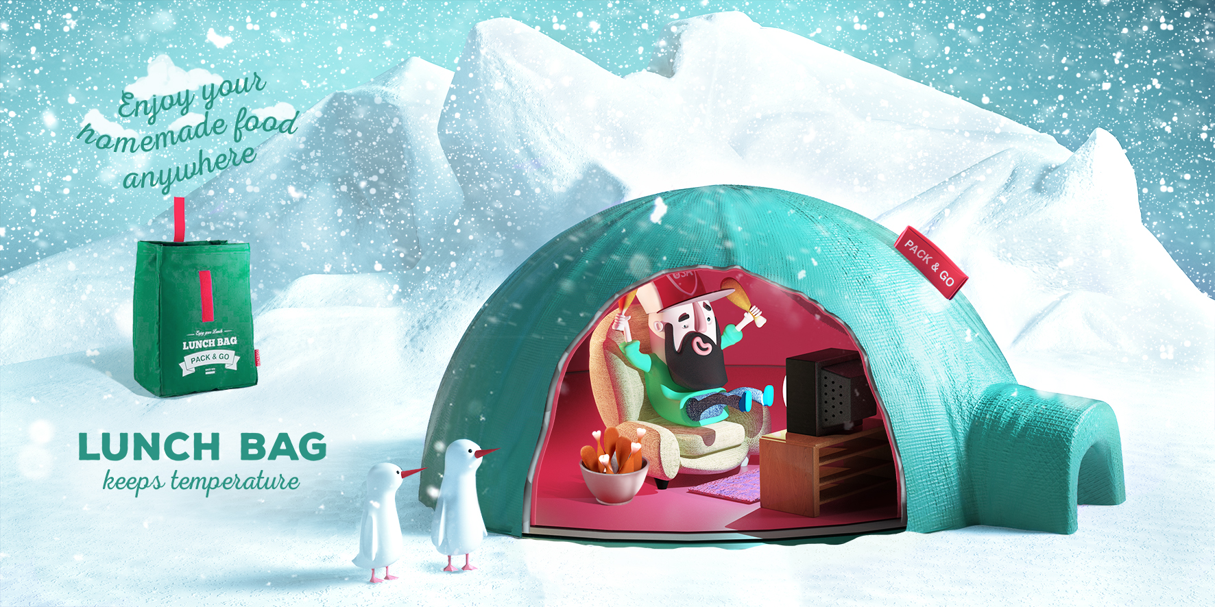 "Печатная реклама ""Lunch Bag keeps temperature in North Pole"", агентство: Provid"