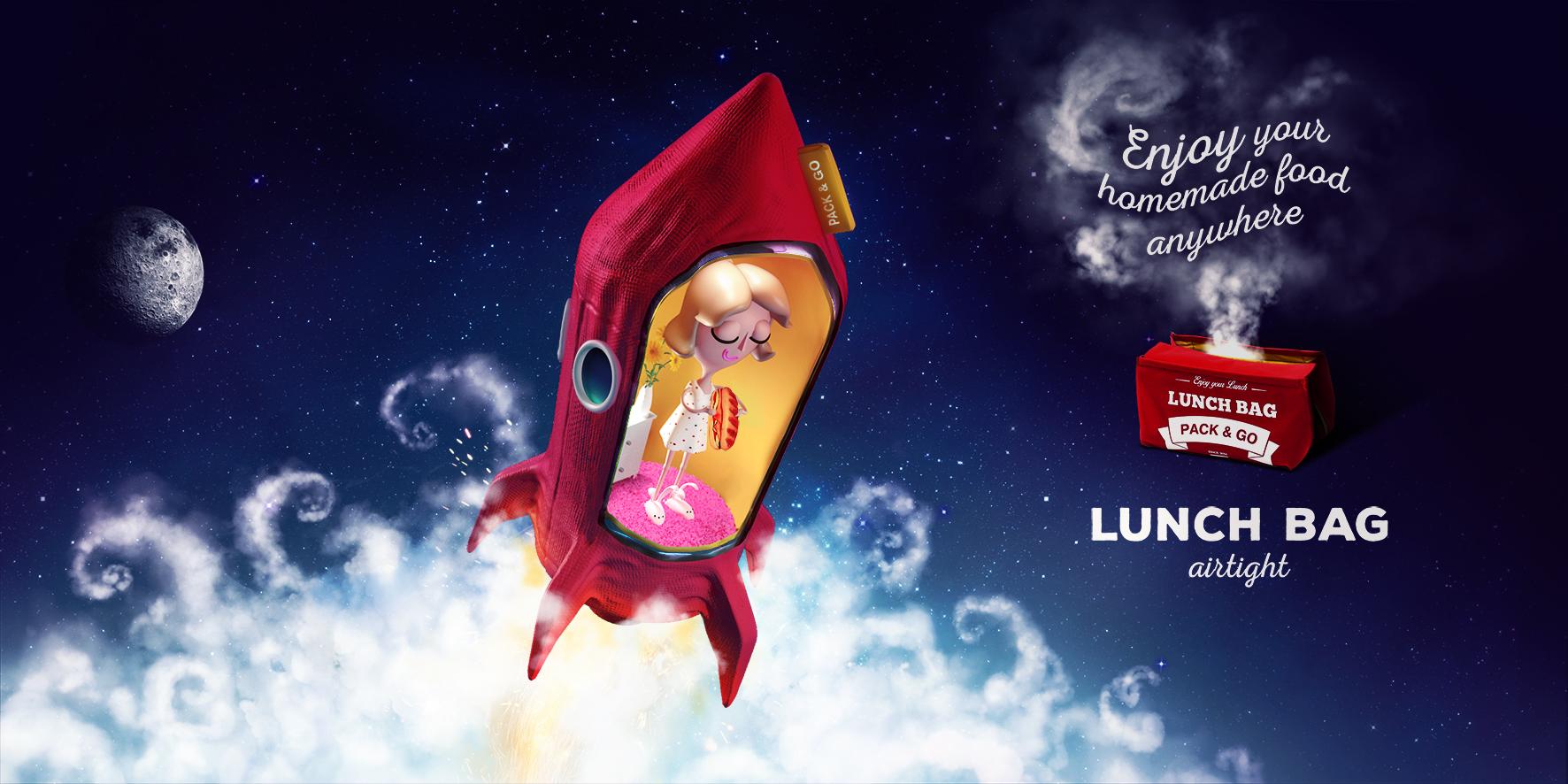 """Печатная реклама """"Lunch Bag airtight in Space"""", агентство: Provid"""