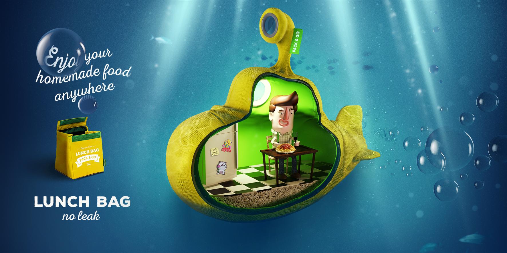 "Печатная реклама ""Lunch Bag no leak underwater"", агентство: Provid"